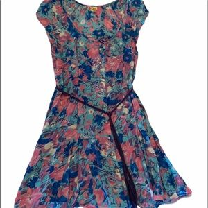 Free People Floral Print Pearl Button Down Dress